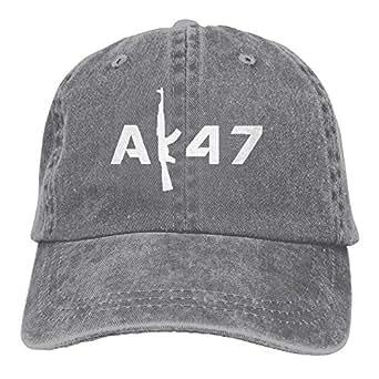 1098a75d5f8 Men Women Gun AK-47 Text Denim Fabric Baseball Hat Adjustable Dad ...