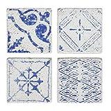 Creative beeinflußt da7300Havana Blue Square Zement Fliesen Untersetzer Set