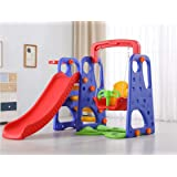 Nature Home Colorful Swing, Slide & Ball Rack Set for Indoor or Outdoor