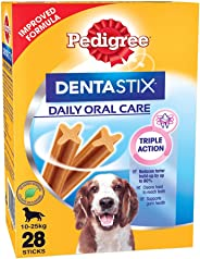 Pedigree Dentastix Medium Breed (10-25 kg) Oral Care Valentines Gift Dog Treat, 720g Monthly Pack (28 Chew Sticks)