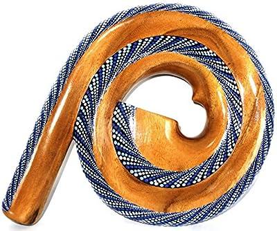 Didgeridoo (madera Suar pintado espiral artisanal aborigen Spiral verde