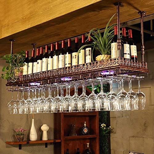 SED Haushalt Weinregal Getränkehalter - einstellbare Höhe Decke montiert hängenden Weinflaschenhalter Metall Eisen Wein Glas Rack Becher Stemware Racks Vintage-Stil Dekoration Anwendung - verfügbar H -