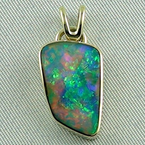 Opal Anhänger aus massivem Gold mit Top GEM Black Crystal Opal