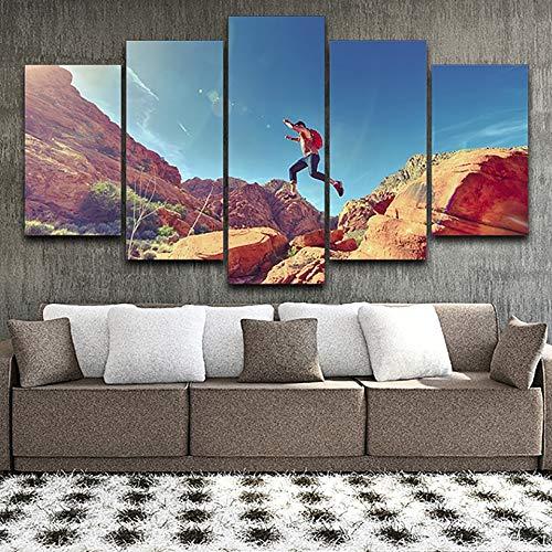 Stampa su Tela HD Immagini a Parete Poster Poster 5 Pannelli Salto da scalatore Illustrazione di Montagna Modulare Decorazioni per la casa Soggiorno