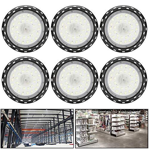 6X 100W UFO lampe Hallenfluter High Bay Light Industrielampe Deckenleuchte Kaltweiß Licht LED Für Supermärkte Oder Sporthallen Beleuchtung (100 Watt Led-licht-lampe)