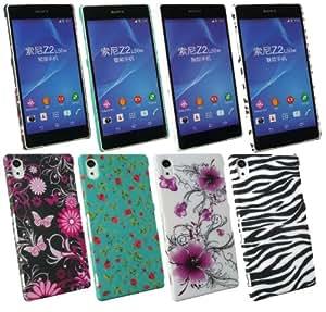 Emartbuy® Sony Xperia Z2 Bundle Pack of 4 Rückschale Schutzhülle zum Aufstecken Case Tasche Hülle - Schmetterling Garten, Violetten Blüten, Zebra Schwarz / Weiß & Rose Garten