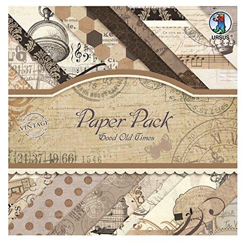Ursus 40930099 - Paper Pack Good Old Time, ca. 20,5 x 20,5 cm, 40 Blatt sortiert in 20 Motiven -