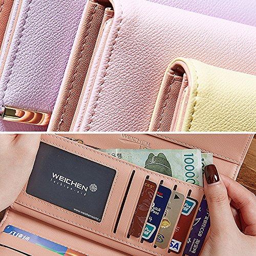 Elegant Lady grande capacità pelle Trifold frizione PU Artemis'Iris Womens Wallet Multi supporto di carta di borsa borsa lunga, giallo rose
