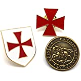 BOBIJOO Jewelry - Lotto set di 3 badge Ordine dei Cavalieri Templari Tenuta Croce Rossa Scudo
