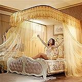 WanJiaMen'Shop Pratica Open Princess Zanzariera Letto Matrimoniale Tende Tenda a Pelo Letto a baldacchino Rete, Giallo, 200 * 220 CM