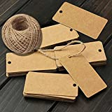 G2PLUS Gift Kraft Paper Tags 100 PCS Luggage Tags Labels 4.5 CM * 9 CM Labels with 30 Meters Jute Twine (Brown)