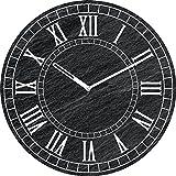 Eurographics Old Slate Clock Wanduhr, Glas, Schwarz, 55 x 55 x 3.5 cm