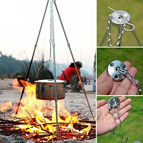 Sdkmah9 Camping Stativ Outdoor Picknick Kochen Stativ Tragbar Zum Aufhängen Topf Lagerfeuer Grill Ständer