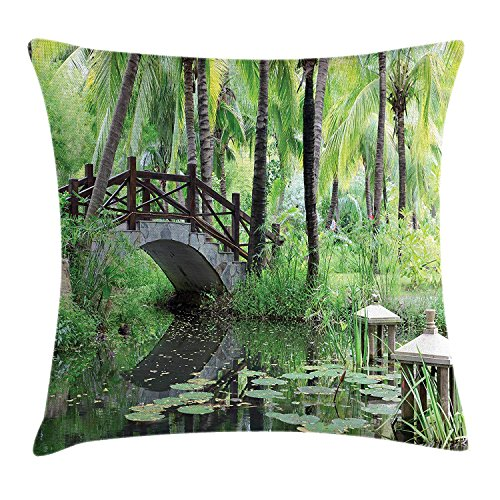Zen Garden Throw Pillow Cushion Cover, Green Landscape in South China Palm Trees and Bushes Lush Growth Nature, Decorative Square Accent Pillow Case, 18 X 18 inches, Green Grey Brown