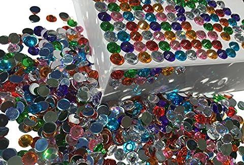 Lot de 4008mm Motif cercles pierres scintillantes multicolores mélange décoration strass rectangulaire acrylique Pierres Opale Effet Effet arc-en-ciel Laser Effet arc-en-ciel pierres Transparent Cristal bricolage gltzer pierres Bijoux Pierres Strass de décoration décoration de Crystal