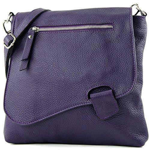 da donna borsa in ital borsa NT07 cuoio tracolla Dunkellila modamoda pelle a de Borsa bag Messenger 2in1 TScy1PO