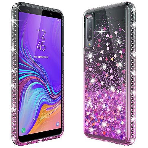 MASCHERI Cover per Samsung Galaxy A7 2018, Sottile 3D Bling Diamante Glitter Brillantini Lucido Cuore Carino Creativo Scintillante Cristallo Silicone Custodia - Nero&Rosa