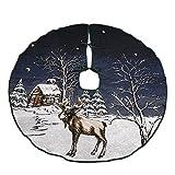 Happon Weihnachtsbaumdecke Christbaumdecke Baumdecke Design mit Rentier 50 Zoll / 127 CM Durchmesser