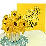 PaperCrush Pop-Up Karte Sonnenblumen - 3D Blumenkarte für diverse Anlässe (Geburtstagskarte, Dankeschön, Gute Besserung) - Handgemachte Grußkarte mit Blumenmotiv