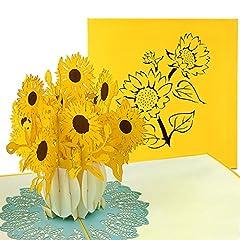 Idea Regalo - Pop Up carta girasoli * prezzo l' introduzione *–3d fiore di carta per diverse occasioni (Madre di carta, carta di compleanno, Ringraziamento)–Biglietto d' auguri fatti a mano con motivi floreali, con busta
