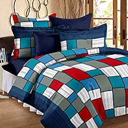 Story@Home Candy 120 TC Cotton Double Bedsheet with 2 Pillow Covers - Checkered, Multicolour