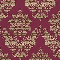 Damasco–rojo/dorado–44–Pasta de la pared 13373–Papel pintado
