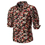Hffan Herren Retro-Stil Langarm Slim Fit Design Hemden Leinenhemd mit Druckknöpfen Freizeithemden Herren Günstig Mode Freizeit Casual Blumenhemd Blumenmuster Bedruckt(Rot,Large)