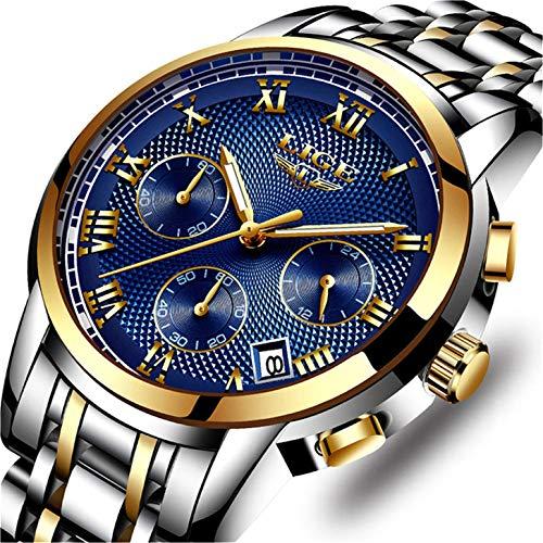 LIGE Uhr Herren Edelstahl Wasserdicht Sport Analog Quarzuhr Luxus Mode Chronograph Kalender Geschäfts Kleid Armbanduhr Männer Gold Blau - Verkauf Männer Uhren Zum