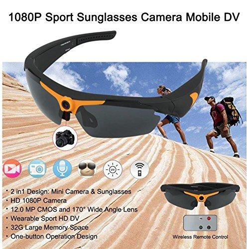 BJESSENCE 1 PC Tragbare Kamera HD 1080P Sport Sonnenbrille Brillen Camcorder 170 ° Weitwinkel 12.0MP Objektiv Webcam Video Sprachaufnahme Kamera Mit Fernbedienung Für den Außenbereich