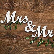 MR & MRS madera letras boda decoración de la tabla actual blanco (MR&MRS5)