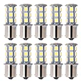 Automotive Battery Best Deals - 10 Ampoules LED De Remplacement Kuman, 1156 BA15S 1141 LED 18 SMD 5050 Pour Camping-Car 36W SUV MPV,Pour Feux Clignotants Arrière De Voiture, Feux de Signalement/De freinage/et Arrière, Couleur : Blanc Chaud KL01