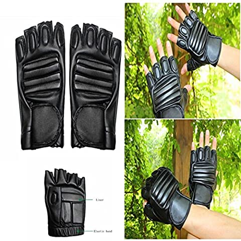 Men's Sports Moto Cycling driving PU Leather HALF-FINGER Gloves