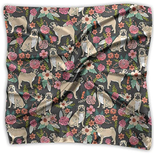 Rghkjlp Pug Flower Womens Stylish Soft Satin Silk Feeling Elegant Formal Square Neck Scarf Head Hair Wraps - Formale Wrap