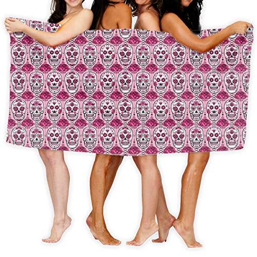 Socksforu Strandtuch Rosa Zuckerschädel Weiches, leichtes Absorptionsmittel für Badepool Yoga Pilates Picknickdecke Handtücher