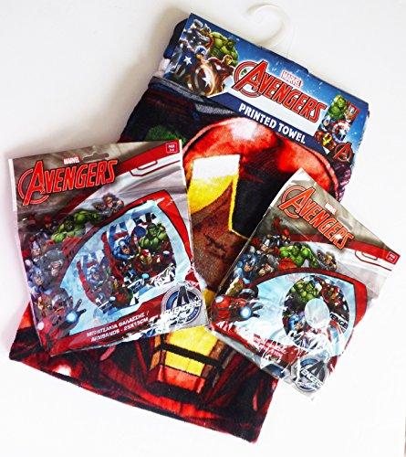 Marvel Avengers Strand Set 3pcs-140x 70cm Strand und Bad bedruckt Handtuch + Arm Bands + Swim Ring-Strand und Schwimmen Kinder Set (Avenger Handtuch-set)