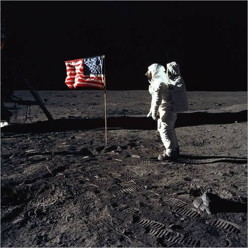 Poster 70 x 70 cm: Apollo 11 Astronaut Buzz Aldrin von Everett Collection - hochwertiger Kunstdruck, neues Kunstposter (Poster Apollo 11)