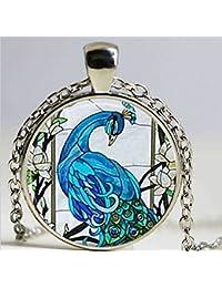 Paon Bleu Photo Pendentif, collier ras du cou, homme femme Paon Collier,  Pendentif a741dd2a0591