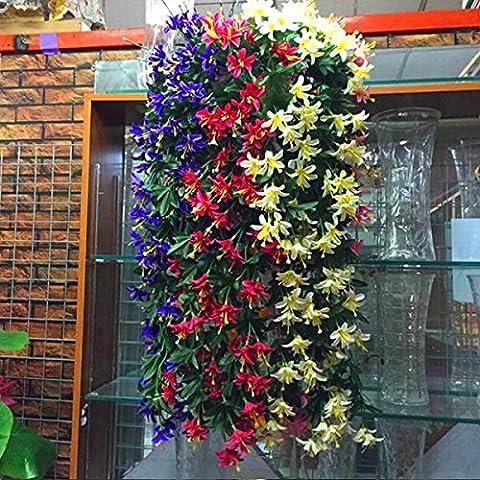 Plantas Vid de Flores Lirio Artificial Guirnalda Colgante Decoración para Hogar Fiesta Rojo