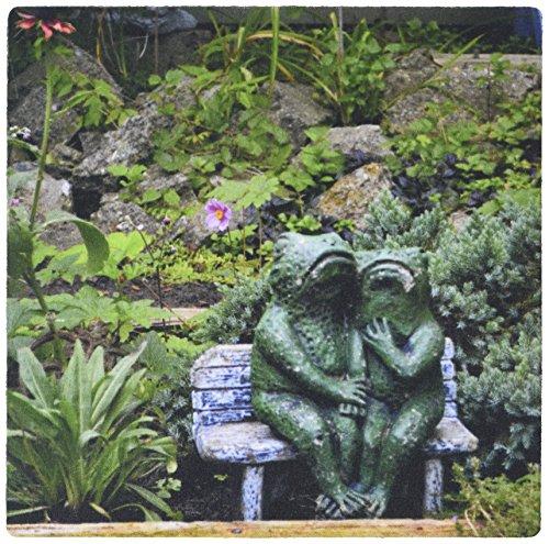 3drose LLC 20,3x 20,3x 0,6cm Maus Pad, eine Reihe von Frosch Statuen, sitzen auf einer Gartenbank (MP _ 165331_ 1)