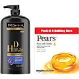 TRESemme Hair Fall Defence Shampoo, 1000ml + Pears Pure and Gentle Bathing Bar, 125 g (Pack of 8)