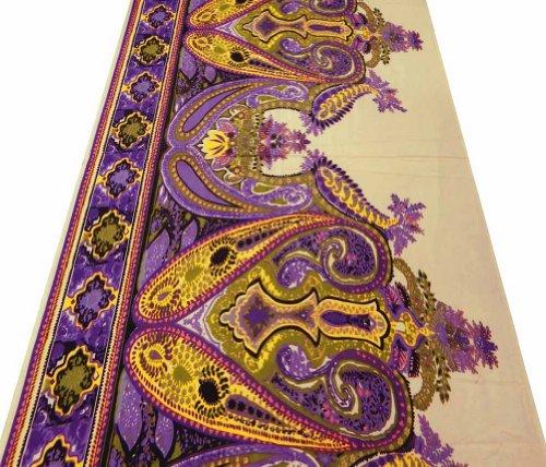 Beige Stoff aus Baumwoll-Voile Paisley-Druck Nähen Quilt Kleid Kissen Indien By The Yard -
