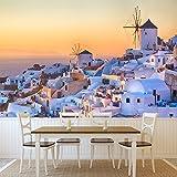 azutura Santorini Sonnenuntergang Wandbild Griechenland Foto-Tapete Wohnzimmer Schlafzimmer Dekor Erhältlich in 8 Größen XXX-Groß Digital