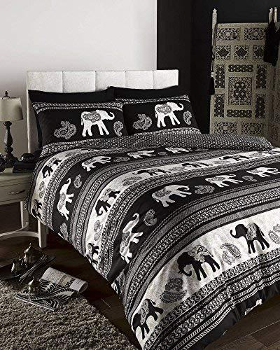 EMPIRE INDIAN ELEPHANT ANIMAL PRINT KING BED DUVET QUILT COVER BEDDING SET BLACK by DE CAMA -