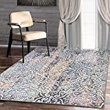 """A2Z RUG Modern Top Quality ( Multi, Blue, Ivory 150 x 225 cm - 4'9"""" x 7'4"""" ft ) Deco Treasure Colletion Area Rug, Perfect for Living room - dining room - Bedroom Rugs & Carpets"""