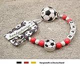 Baby SCHNULLERKETTE mit NAMEN | Motiv Fussball in Vereinsfarben - rot, weiß