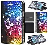 Samsung Galaxy S4 Mini Hülle von CoverHeld Premium Flipcover Schutzhülle Flip Case Motiv (372 Noten Abstract Blau Gelb Rot Schwarz)