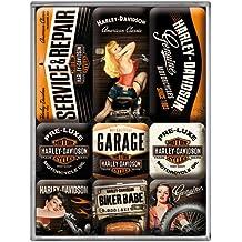 Nostalgic Art 83074 Harley-Davidson garaje de chicas, imán-Set, 9-unidades piezas