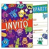 Partycards Set di 12 inviti Compleanno Biglietti invito per Festa Compleanno per Bambini e Adulti in Italiano - Piccoli Mostri