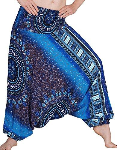 Zarlena Damen Pumphose Haremshose Pluderhose Hose Aladinhose Blau 524