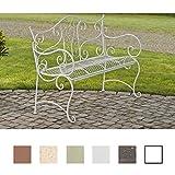 CLP Banc de Jardin Tara - Banquette de Jardin Fer Forgé Style Rustique - 2 à 3 Places - Banquette Confortable - Couleur: Blanc Antique